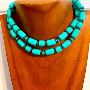Vintage and Silver and Turquoise bead 28 inch Necklace. No markings